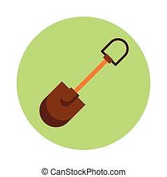 pictogram, vrijstaand, werktuig, tuinieren schop