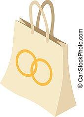 pictogram, zak, isometric, stijl