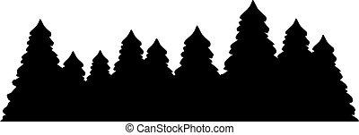 pijnboom, silhouette, bos
