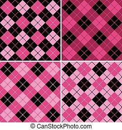 pink-black, motieven, plaid-argyle
