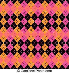 :pink, sinaasappel, argyle, black., ontwerp