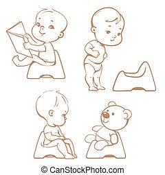 pispot, toilet., sketch., baby's, training.