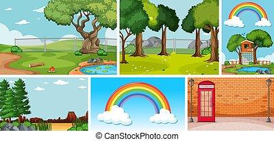 plaatsen, zes, natuur scènes, anders