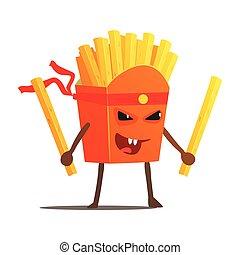 plakken, voedingsmiddelen, karakter, bakken, twee, illustratie, vechter, karate, slecht, vasten, vecht, kerel, spotprent, troep