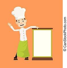 plank, -, leeg, staand, kok