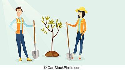 plant, boom., aziaat, wite kaukasiër, vrouwen