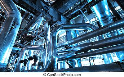plant, stichten, kabels, uitrusting, binnen, bies, industriebedrijven, macht