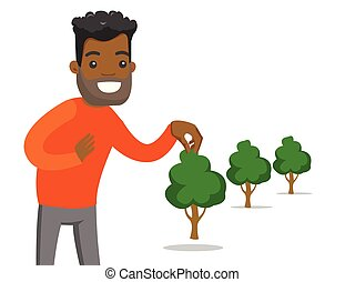 planten, boom., jonge, tuinman, afrikaans-amerikaan