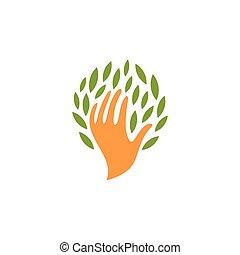 planten, organisch, illustration., mensen, logotype., abstract, natuur, vrijstaand, symbool., eco, vector, producten, schoonheidsmiddelen, menselijke hand, bladeren, icon., sparen, logo., teken.