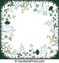 plants., plein, silhouette, floral, abstract, mal, stylized, keukenkruiden, planten