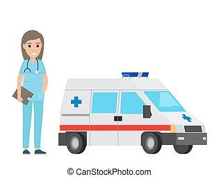 plat, auto, vrolijk, ontwerp, ambulance, verpleegkundige