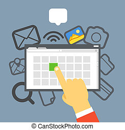 plat, concept, gallery., foto, ontwerp, internet, oicture, selekteer