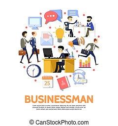 plat, concept, ronde, zakenlui