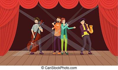 plat, concert, jazz, illustratie, band, vector