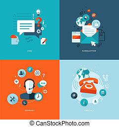 plat, iconen, web, communicatie