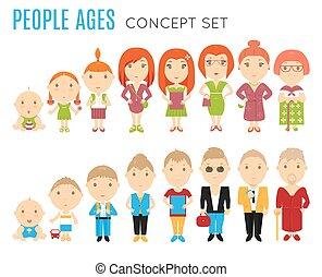 plat, leeftijd, set, mensen, iconen