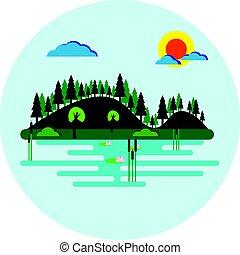 plat, meer, bomen, helling, vector, ontwerp, bos, bedekt, tranquil