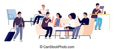 plat, mensen, concept., mannen, illustratie, salon, characters., vector, vrolijke , herberg, vrouwen