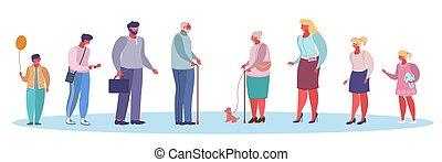 plat, mensen, vector, leeftijden, stijl, illustratie, ontwerp, anders