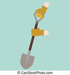 plat, mijnbouw, schop, handvat, concept, illustratie, hand, tuinieren, vector, ontwerp, graven, handschoenen