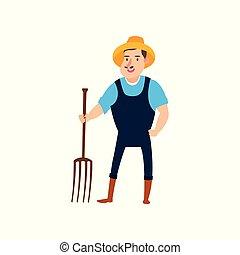 plat, set, landbouwers, pitchforks, illustratie, ontwerp, vector., farmer, gereed, harvest.