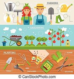 plat, set, tuinieren, landbouwers, 3, banieren