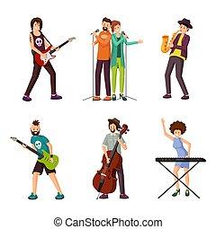plat, set, vector, muziek, karakters, kunstenaars
