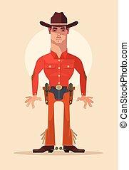plat, sheriff, cowboy, character., illustratie, vector, spotprent