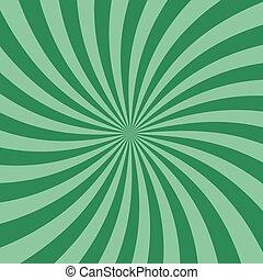 plat, spiraal, vector, groene, retro, achtergrond, kolken, ontwerp, zonnestraal