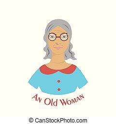 plat, stijl, vrouw, oud, illustratie, ontwerp, verticaal