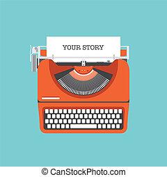 plat, verhaal, aandeel, jouw, illustratie