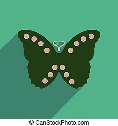 plat, vliegen, lang, vlinder, schaduw, pictogram