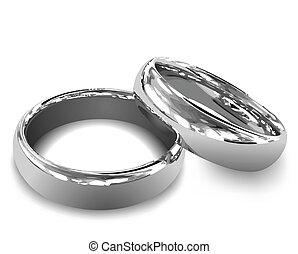 platina, rings., vector, illustratie, trouwfeest
