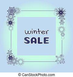 plein, snowflakes, frame, verkoop, vector, winter