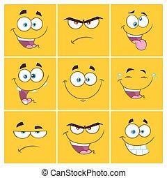 plein, spotprent, set, uitdrukking, emoticons, verzameling, gele, 2.