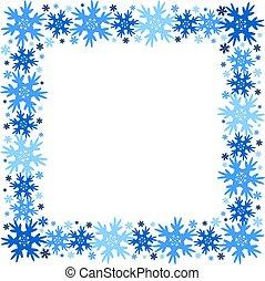 plein, winter, snowflakes., frame, isolated., vector