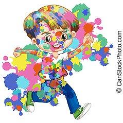 plonsen, jongen, vrolijke , zijn, watercolor, lichaam