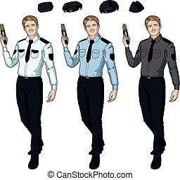 politie, houden, taser, officier, mannelijke , kaukasisch