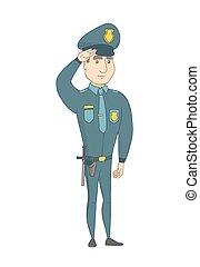 politie, kaukasisch, saluting., officier, jonge