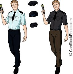 politie, taser, houden, kaukasisch, mannelijke , officier