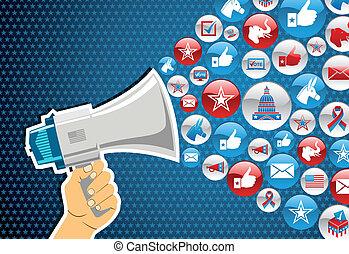 politiek, boodschap, elections:, bevordering, ons