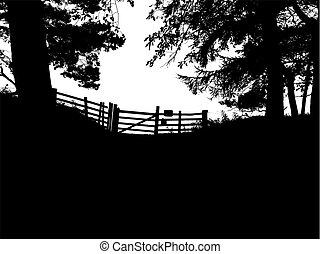 poort, silhouette, boompje