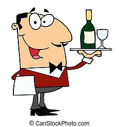 portie, mannelijke , wijntje, kaukasisch, lakeien