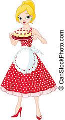 portie, taart, vrouw, jonge