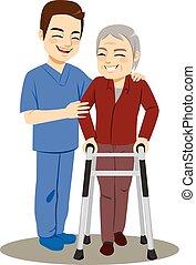 portie, verpleegkundige, mannelijke , hogere mens