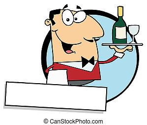 portie, vriendelijk, mannelijke , wijntje, lakeien