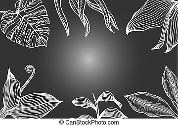 poster, bladeren, plein, bloem