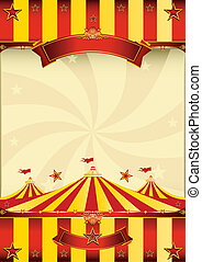 poster, bovenzijde, circus, rood geel