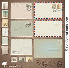 postkaart, ouderwetse , ontwerpen, vector, stamps., enveloppen, set: