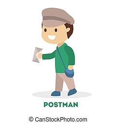 postman., jongen, weinig; niet zo(veel), toneelstuk, uniform, kind